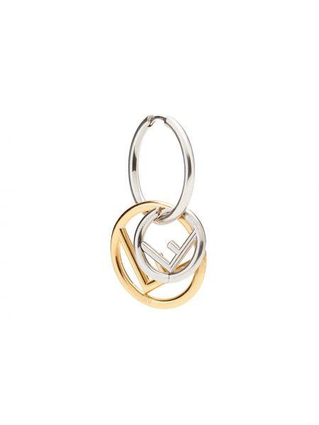 Złote srebrne kolczyki pozłacane Fendi