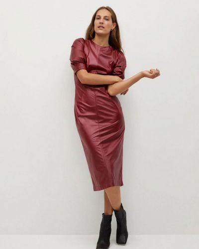 Кожаное красное платье Mango