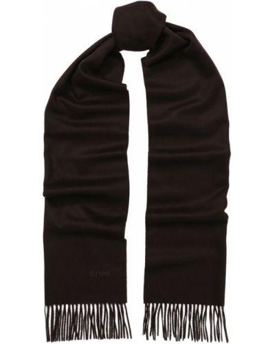 Коричневый шарф с бахромой Brioni