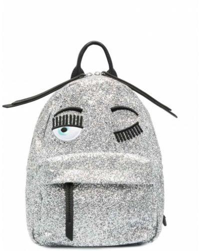 Серебряный кожаный рюкзак с вышивкой Chiara Ferragni Kids