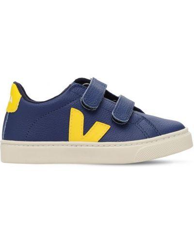 Bawełna niebieski skórzany skórzane sneakersy prążkowany Veja
