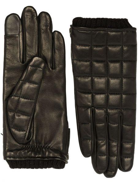 Кожаные черные перчатки без застежки Agnelle