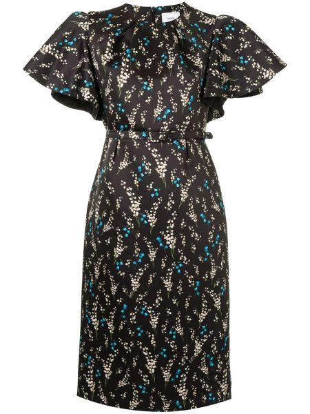 Прямое с рукавами черное платье миди Erdem