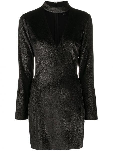 Черное платье мини с длинными рукавами с вырезом Just Cavalli