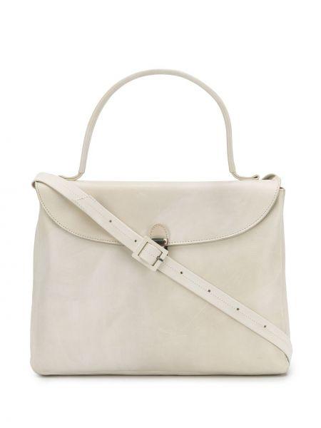 Кожаная белая сумка-тоут круглая Cherevichkiotvichki