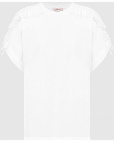 Белая футболка с оборками Twin-set