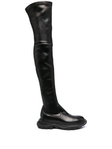 Черные кожаные ботфорты на платформе Alexander Mcqueen