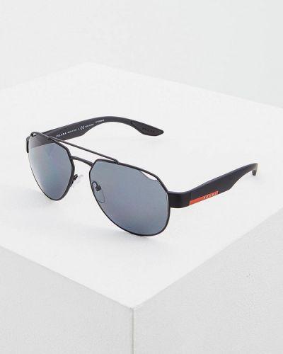 Очки авиаторы черные солнцезащитные Prada Linea Rossa
