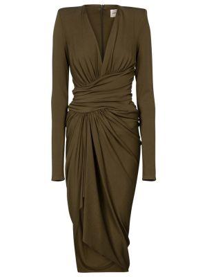 Zielona sukienka midi z wiskozy Alexandre Vauthier