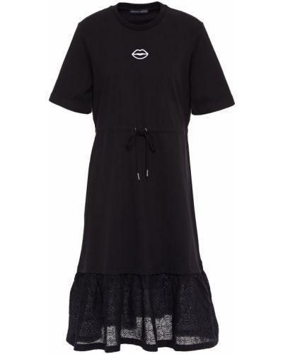 Расклешенное трикотажное черное платье Markus Lupfer