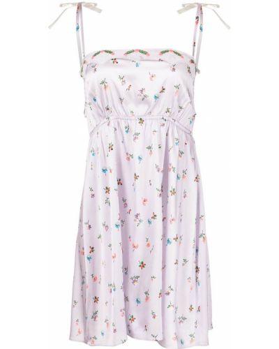Фиолетовая шелковая ночнушка в цветочный принт Morgan Lane