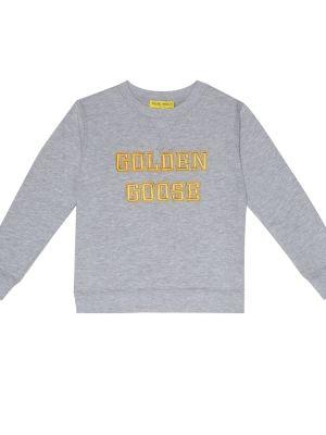 Bluza z kapturem szary żółty Golden Goose Kids