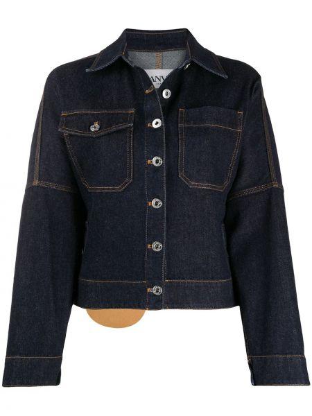 Синяя джинсовая куртка с нашивками с воротником Lanvin