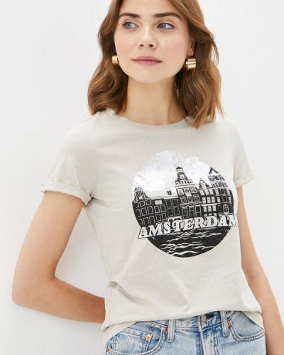 Бежевая с рукавами футболка Q/s Designed By
