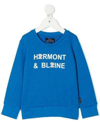 Прямой с рукавами хлопковый белый свитшот Harmont & Blaine Junior