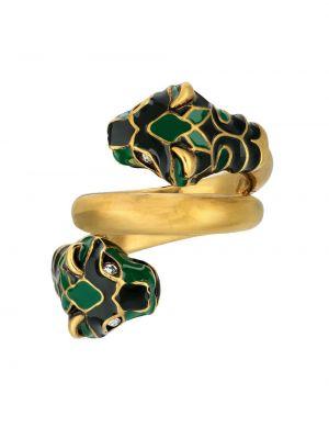 Zielony złoty pierścionek Gucci