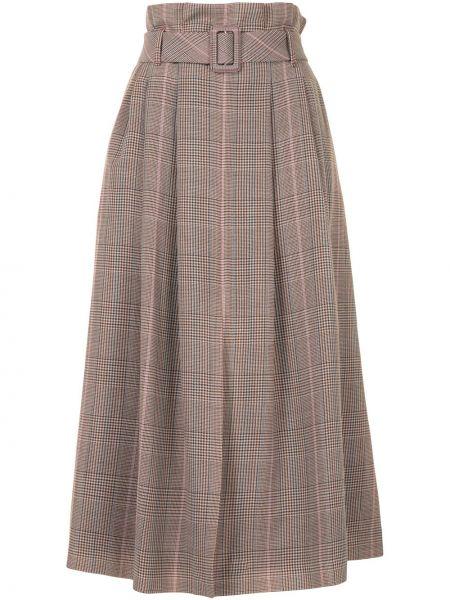 Шерстяная коричневая с завышенной талией юбка миди с поясом Paule Ka