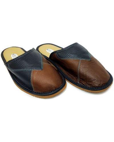 Кожаные тапочки - синие Luckline