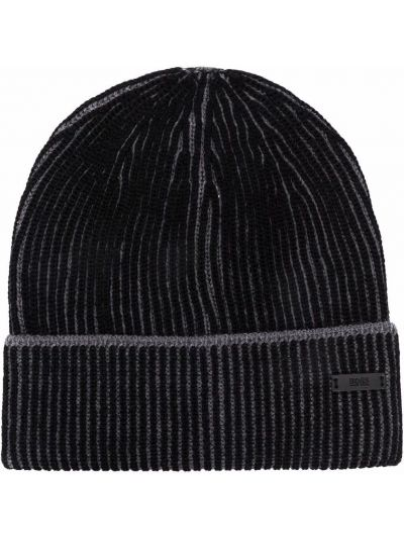 Шерстяная шапка бини - черная Boss Hugo Boss