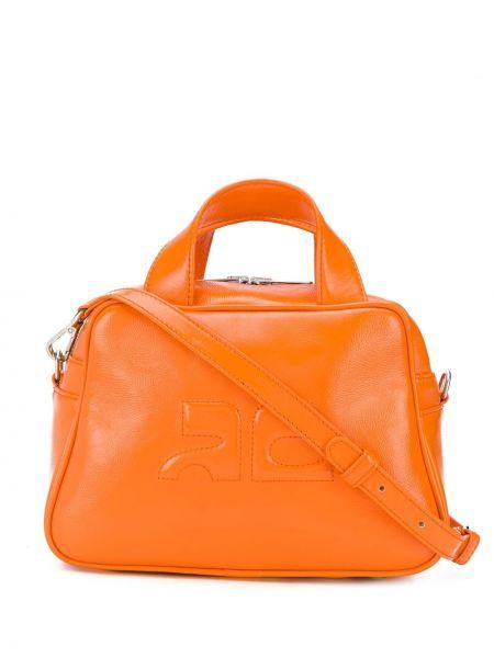 Pomarańczowa torba na ramię skórzana Courreges