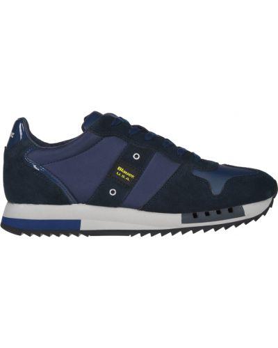 Кожаные кроссовки - синие Blauer