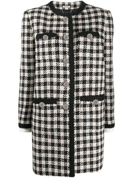 Черное акриловое однобортное пальто на пуговицах Miu Miu