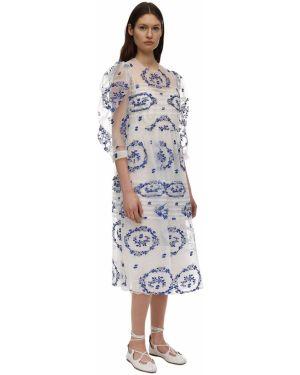 Платье миди из фатина с вышивкой Simone Rocha