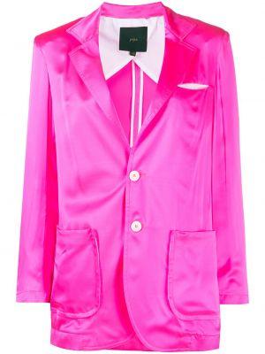 Шелковый розовый удлиненный пиджак с карманами Jejia