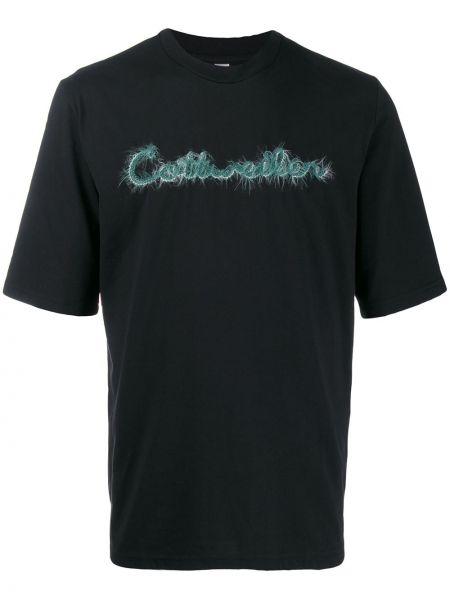 Czarny t-shirt bawełniany z haftem Cottweiler
