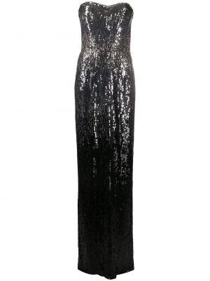Черное платье макси с пайетками без рукавов Jenny Packham