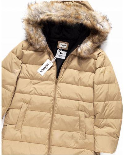 Brązowa kurtka puchowa z kapturem bawełniana Wrangler