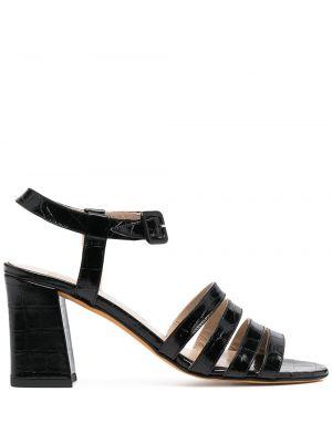 Czarne sandały skorzane klamry Maryam Nassir Zadeh