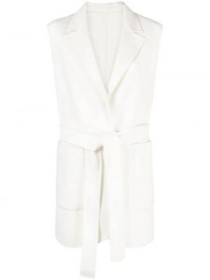Długi płaszcz wełniany - biały Pinko