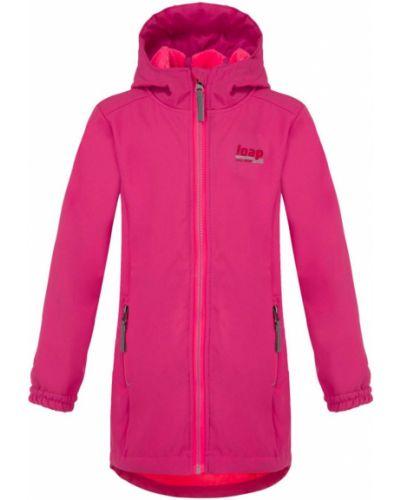 Różowy płaszcz z kapturem softshell Loap
