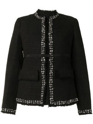 Хлопковый черный удлиненный пиджак с вырезом Giambattista Valli
