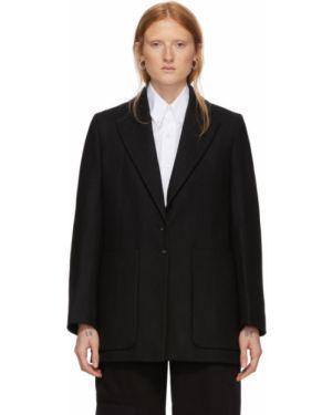 Шерстяной черный пиджак с карманами с воротником Studio Nicholson