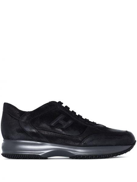 Кожаные кроссовки - черные Hogan