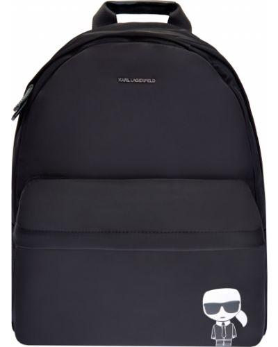Кожаная черная сумка с аппликациями Karl Lagerfeld