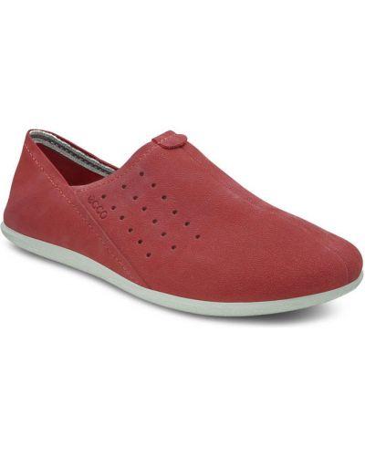 Слипоны красные кожаные Ecco