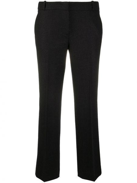 Черные акриловые прямые укороченные брюки с потайной застежкой Drumohr
