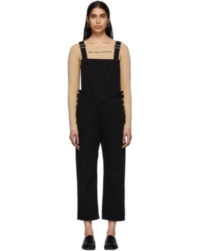 Черный джинсовый комбинезон с карманами на бретелях Mm6 Maison Margiela