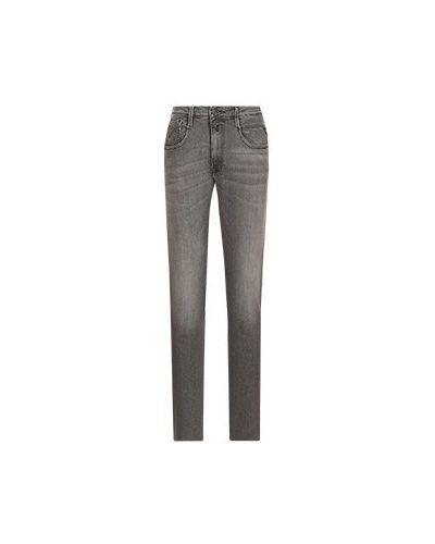 Хлопковые прямые серые джинсы Replay