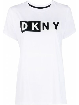 Прямая белая футболка с вырезом Dkny