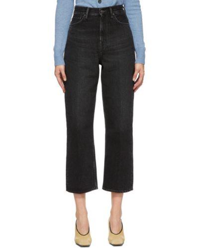Skórzany niebieski jeansy na wysokości z kieszeniami z łatami Acne Studios