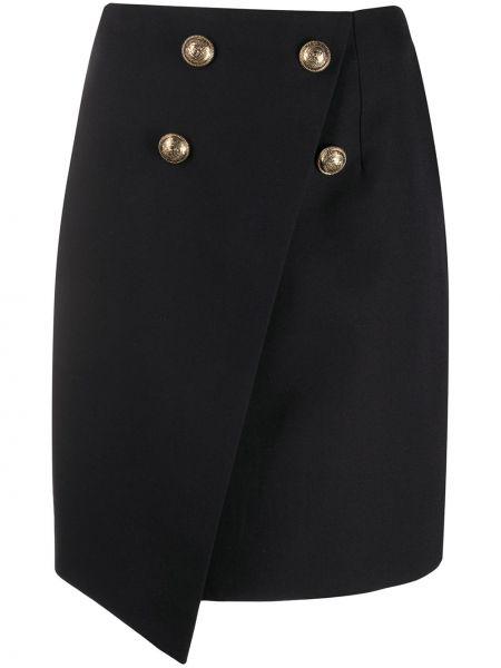 Черная юбка с запахом на пуговицах Balmain