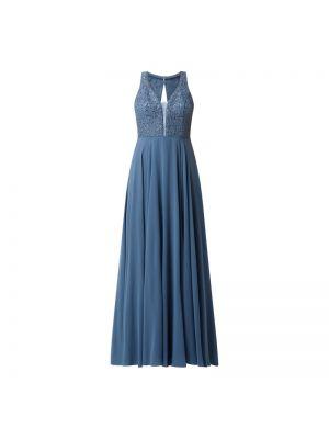 Niebieska sukienka wieczorowa rozkloszowana z cekinami V.m.