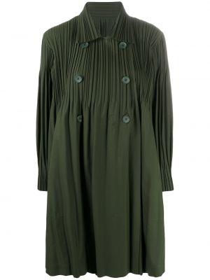 Długi płaszcz - zielony Issey Miyake