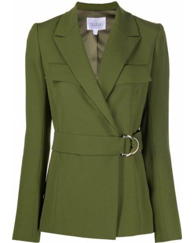 С рукавами оливковая длинная куртка с отворотом с карманами Galvan