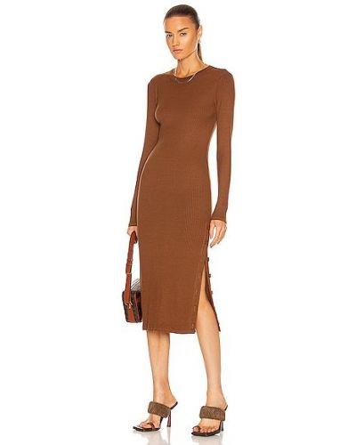 Трикотажное платье миди - коричневое Enza Costa