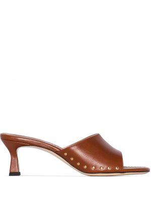 Brązowe sandały skorzane na niskim obcasie Wandler
